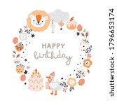 happy birthday round frame for... | Shutterstock .eps vector #1796653174