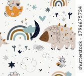 seamless childish pattern with... | Shutterstock .eps vector #1796675734