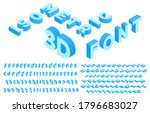 isometric 3d font. perspective... | Shutterstock .eps vector #1796683027
