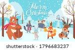 animals celebrating christmas.... | Shutterstock .eps vector #1796683237