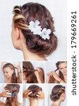 simple hairdo tutorial | Shutterstock . vector #179669261
