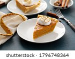 Small photo of Sweet potato pie slice with toasted marshmallow topping