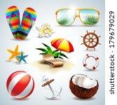vector summer holiday icon set... | Shutterstock .eps vector #179679029