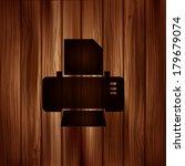 printer web icon. wooden...
