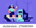 happy woman at work controlling ...   Shutterstock . vector #1796803984