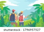 young tourists travelling... | Shutterstock .eps vector #1796957527