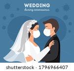 wedding quarantine. groom and...   Shutterstock .eps vector #1796966407