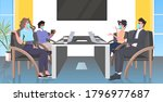 businesspeople in face masks... | Shutterstock .eps vector #1796977687