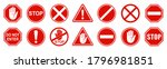 set stop red sign icon with... | Shutterstock .eps vector #1796981851