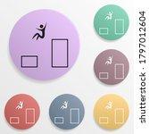 handball badge color set icon....