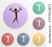 dumbbell badge color set icon....