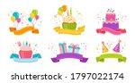 birthday ribbon flat set.... | Shutterstock .eps vector #1797022174