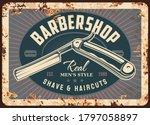 barber shop metal rusty plate... | Shutterstock .eps vector #1797058897