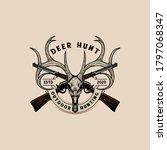 deer skull with crossing hunting rifles, vintage logo - stock vector