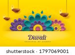 diwali greeting card with... | Shutterstock .eps vector #1797069001