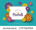 diwali greeting card with... | Shutterstock .eps vector #1797069004