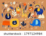 abstract doodles. baby animals... | Shutterstock .eps vector #1797124984