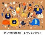 abstract doodles. baby animals... | Shutterstock .eps vector #1797124984