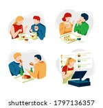 collection of people sitting... | Shutterstock .eps vector #1797136357