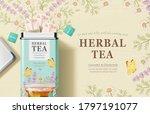 tea bags box design in 3d... | Shutterstock .eps vector #1797191077