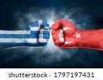Flags Of Turkey And Greece...