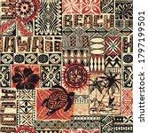 hawaiian style tribal fabric... | Shutterstock .eps vector #1797199501
