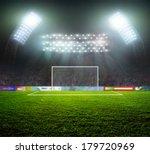 Soccer Ball On Green Stadium ...