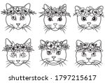 Set Of Cats In Flowers Wreaths. ...