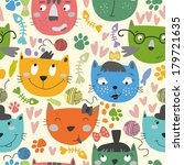 seamless vector pattern with... | Shutterstock .eps vector #179721635