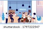 friends in beer bar. flat... | Shutterstock .eps vector #1797222547