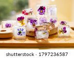Ice Cubes With Flowers Violets...
