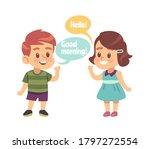 kids good manners. happy boy... | Shutterstock .eps vector #1797272554