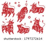 Chinese New Year 2021 Ox. Red...