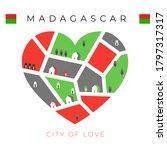 Flag Of Madagascar With Heart...