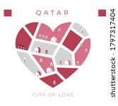 Flag Of Qatar With Heart Shape...