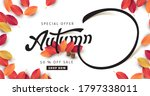 autumn calligraphy with leaves... | Shutterstock .eps vector #1797338011