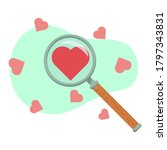 magnifier with hearts on a...