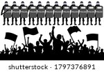 crowd of protesters with flags... | Shutterstock .eps vector #1797376891