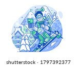 cheerful skier on snowy slope...