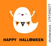 ghost spirit holding bunting... | Shutterstock .eps vector #1797398377
