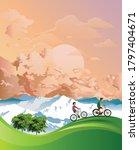 couple on a summer mountainous... | Shutterstock .eps vector #1797404671