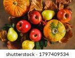 Autumn Seasonal Harvest. Fruits ...