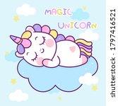 flat unicorn fairy cartoon pony ...   Shutterstock .eps vector #1797416521