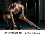dark warrior   body builder... | Shutterstock . vector #179743139