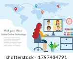 business woman working at home...   Shutterstock .eps vector #1797434791