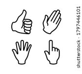 hands icon set vector. hand...