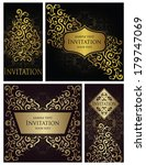 set of stylish cards with... | Shutterstock .eps vector #179747069