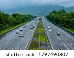 Small photo of Pune, India - August 15 2020: The Mumbai-Pune Expressway during the monsoon season near Pune India. Monsoon is the annual rainy season in India from June to September.