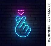 k pop neon sign. sign of finger ... | Shutterstock .eps vector #1797532774