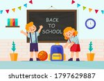 back to school kids go to...   Shutterstock .eps vector #1797629887